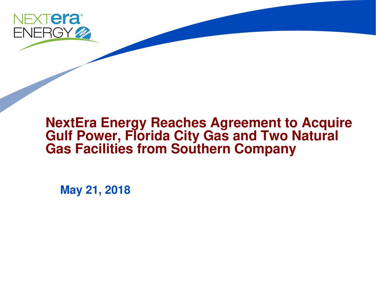 Nextera Energy Nee To Acquire Gulf Power Florida City Gas And