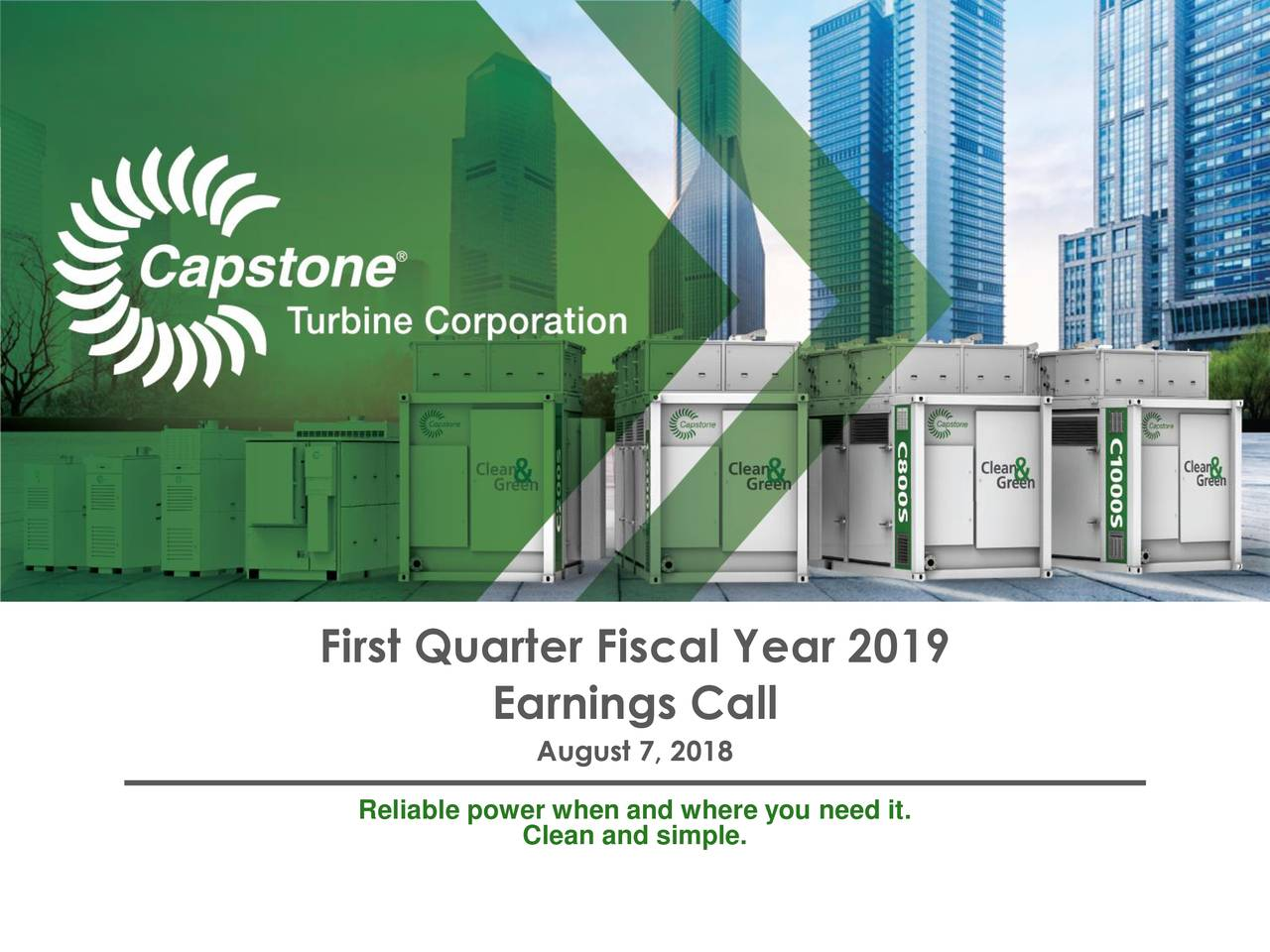 Capstone Turbine Corporation 2019 Q1 - Results - Earnings ...
