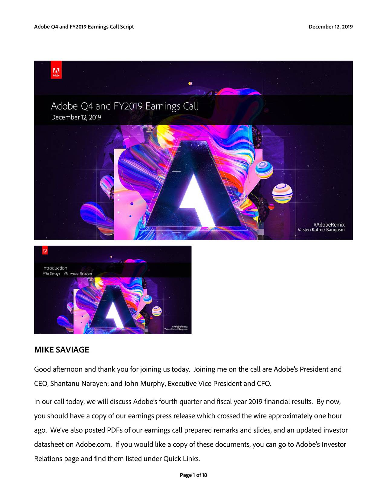 Adobe Inc. 2019 Q4 - Results - Earnings Call Presentation - Adobe Inc. (NASDAQ:ADBE) | Seeking Alpha
