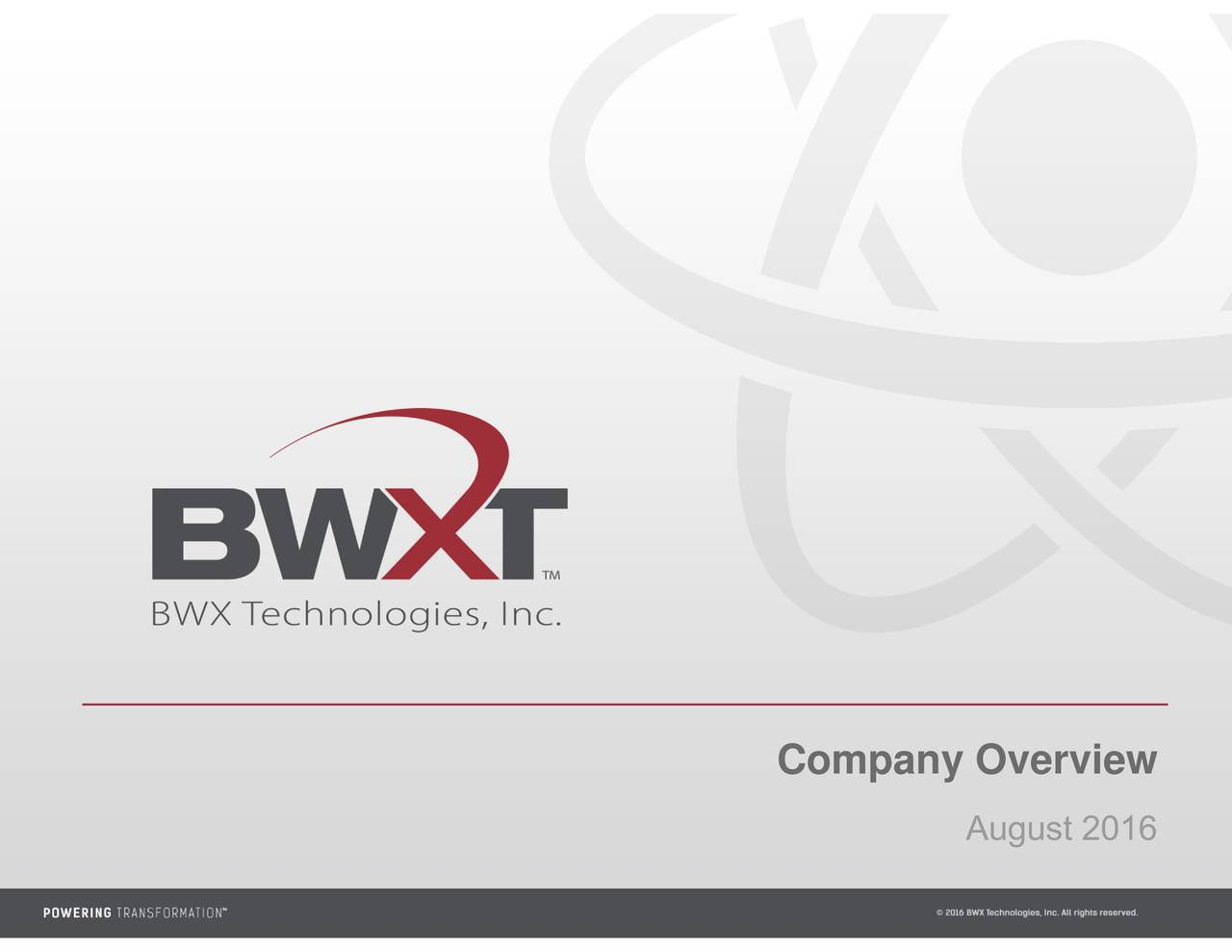 August 2016 Company Overview