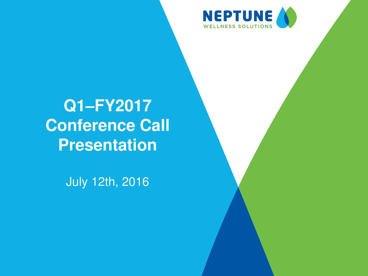 Conference Call Presentation July 12th, 2016