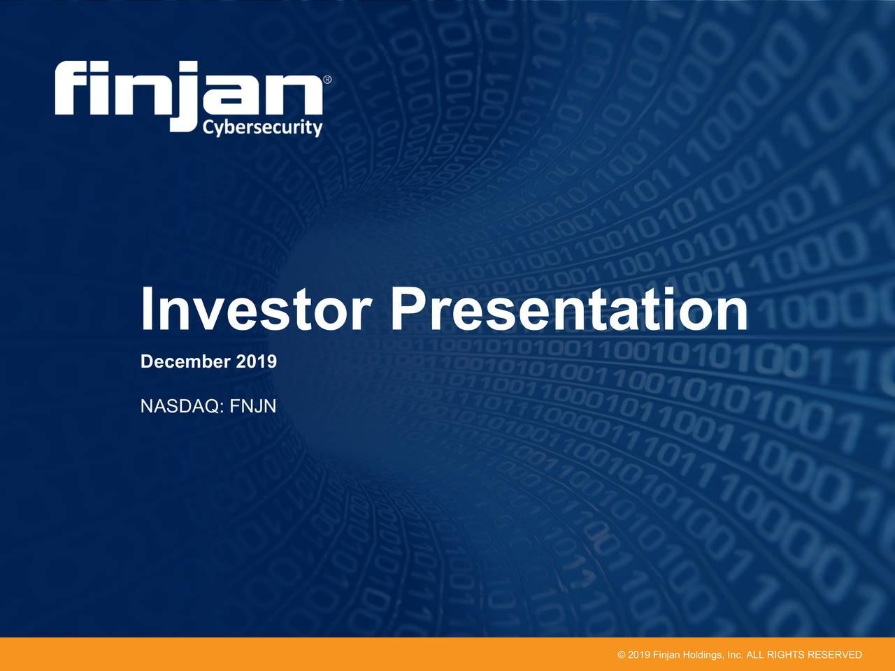 Finjan Holdings (FNJN) Investor Presentation - Slideshow - Finjan Holdings, Inc. (NASDAQ:FNJN) | Seeking Alpha