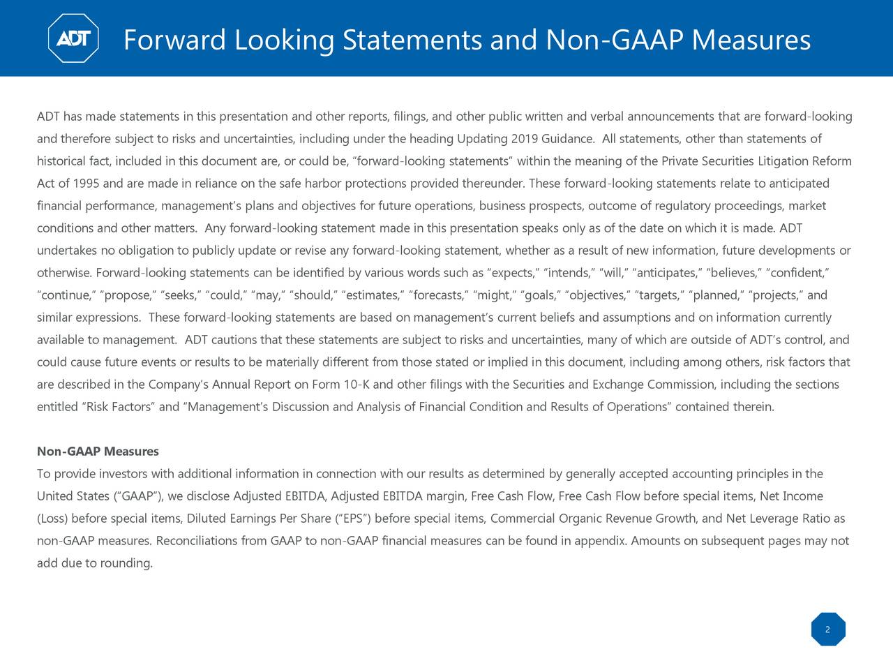 Forward Looking Statements and Non-GAAP Measures
