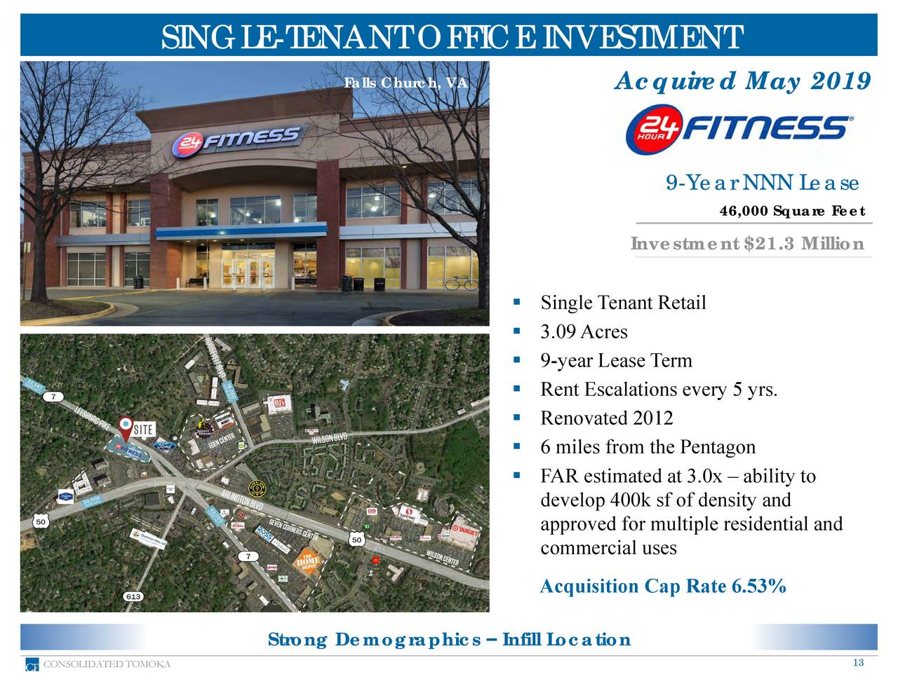 Falls Church, VA Acquired May 2019 9-Year NNN Lease 46,000 Square Feet Investment $21.3 Million ▪ Single Tenant Retail ▪ 3.09Acres ▪ 9-year Lease Term ▪ Rent Escalations every 5 yrs. ▪ Renovated 2012 ▪ 6 miles from the Pentagon ▪ FAR estimated at 3.0x – ability to develop 400k sf of density and approved for multiple residential and commercial uses Acquisition Cap Rate 6.53% Strong Demographics – Infill Location CONSOLIDATED TOMOKA 13