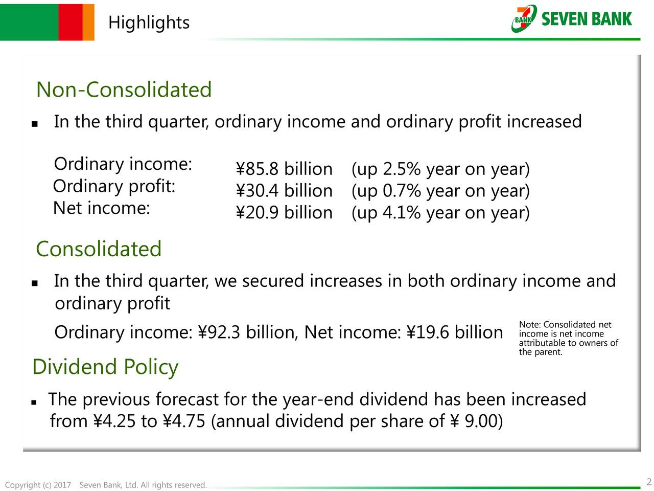 Non-Consolidated In the third quarter, ordinary income and ordinary profit increased Ordinary income: 85.8 billion (up 2.5% year on year) Ordinary profit: 30.4 billion (up 0.7% year on year) Net income: 20.9 billion (up 4.1% year on year) Consolidated In the third quarter, we secured increases in both ordinary income and ordinary profit Note: Consolidated net Ordinary income: 92.3 billion, Net income: 19.6 billion income is net income the parent.e to owners of Dividend Policy The previous forecast for the year-end dividend has been increased from 4.25 to 4.75 (annual dividend per share of  9.00)