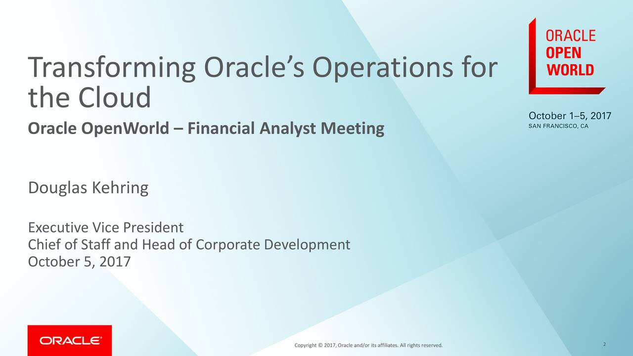 Transforming Oracle's Operations for