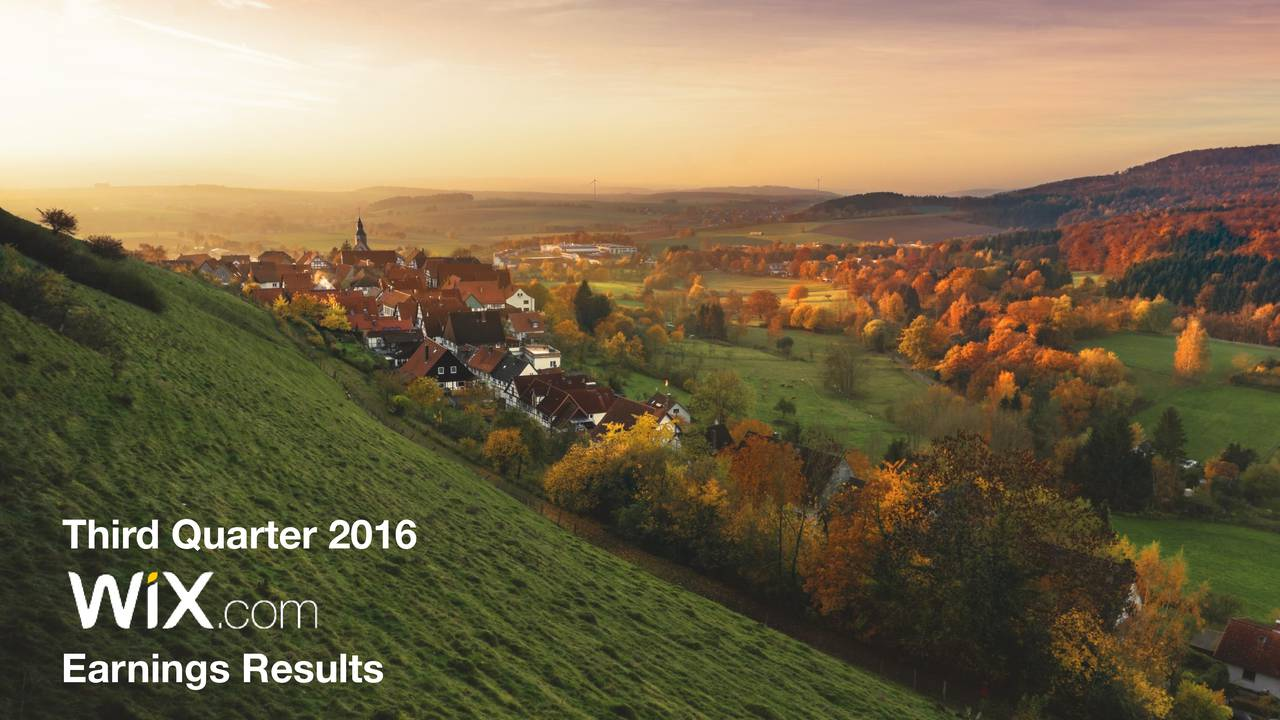 Third Quarter 2016 Earnings Results 1
