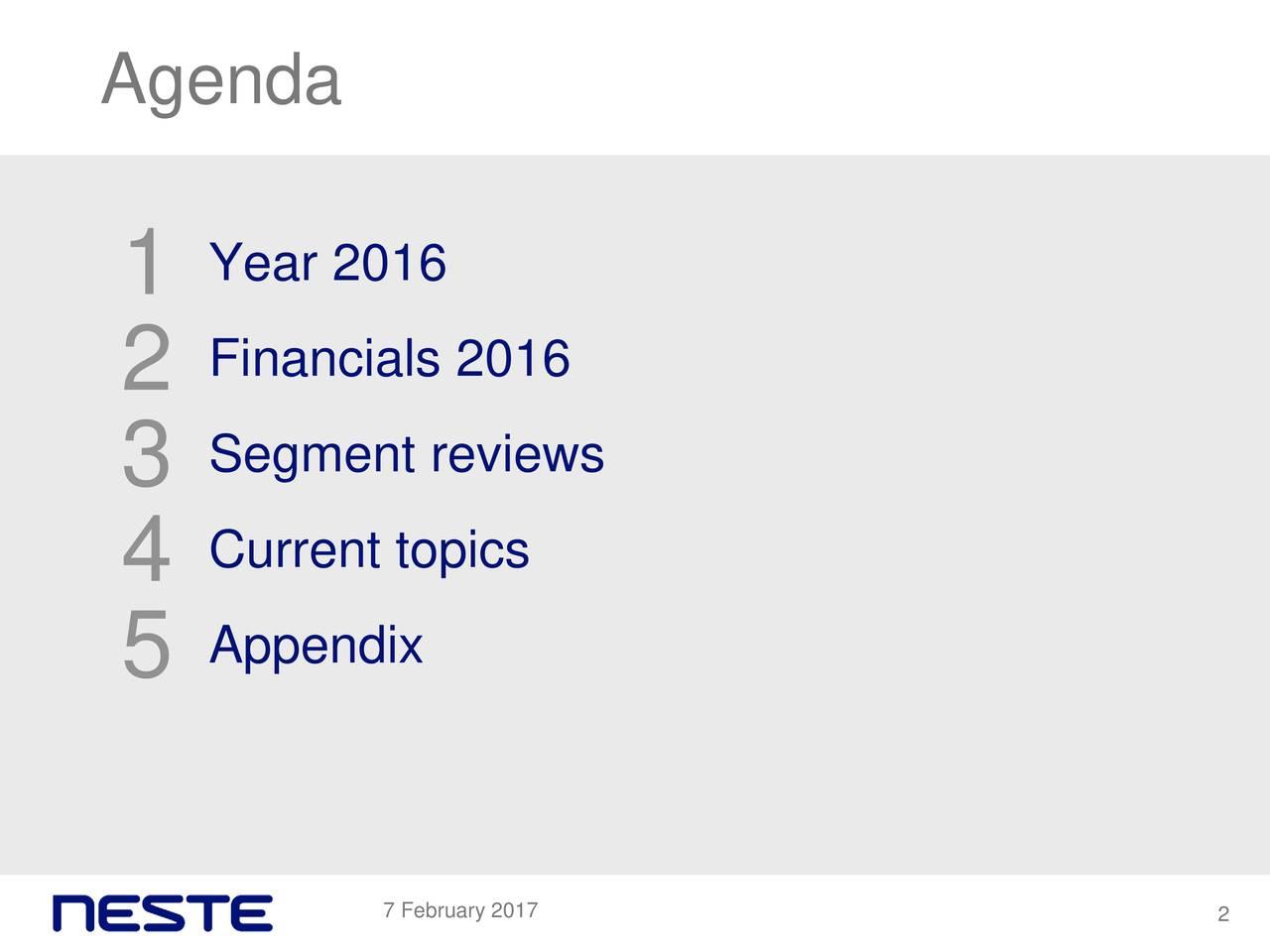 Year 2016 1 2 Financials 2016 Segment reviews 3 4 Current topics Appendix 5 7 February 2017