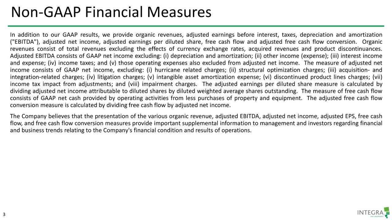 """In addition to our GAAP results, we provide organic revenues, adjusted earnings before interest, taxes, depreciation and amortization (""""EBITDA""""), adjusted net income, adjusted earnings per diluted share, free cash flow and adjusted free cash flow conversion. Organic revenues consist of total revenues excluding the effects of currency exchange rates, acquired revenues and product discontinuances. Adjusted EBITDA consists of GAAP net income excluding: (i) depreciation and amortization; (ii) other income (expense); (iii) interest income and expense; (iv) income taxes; and (v) those operating expenses also excluded from adjusted net income. The measure of adjusted net income consists of GAAP net income, excluding: (i) hurricane related charges; (ii) structural optimization charges; (iii) acquisition- and integration-related charges; (iv) litigation charges; (v) intangible asset amortization expense; (vi) discontinued product lines charges; (vii) income tax impact from adjustments; and (viii) impairment charges. The adjusted earnings per diluted share measure is calculated by dividing adjusted net income attributable to diluted shares by diluted weighted average shares outstanding. The measure of free cash flow consists of GAAP net cash provided by operating activities from less purchases of property and equipment. The adjusted free cash flow conversion measure is calculated by dividing free cash flow by adjusted net income. The Company believes that the presentation of the various organic revenue, adjusted EBITDA, adjusted net income, adjusted EPS, free cash flow, and free cash flow conversion measures provide important supplemental information to management and investors regarding financial and business trends relating to the Company's financial condition and results of operations. 3"""