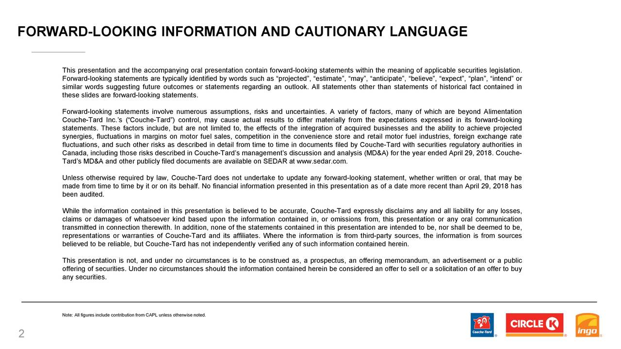 FORWARD             -LOOKING INFORMATION AND CAUTIONARY LANGUAGE