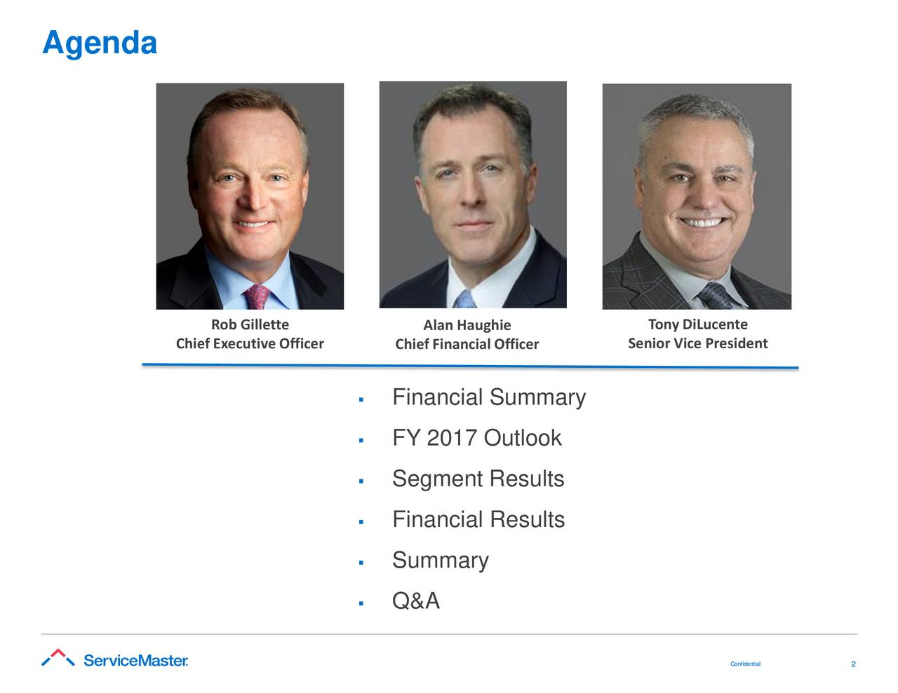 Rob Gillette Alan Haughie Tony DiLucente Chief Executive Officer Chief Financial Officer Senior Vice President Financial Summary FY 2017 Outlook Segment Results Financial Results Summary Q&A Coonnffiiddeennt2iiaall