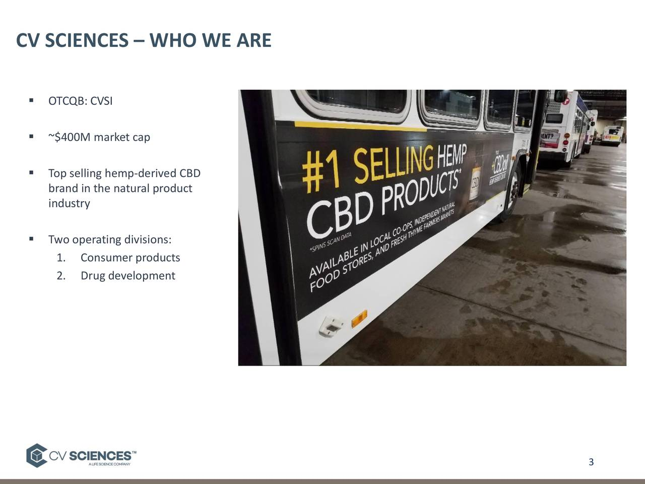 ▪ OTCQB: CVSI ▪ ~$400M market cap ▪ Top selling hemp-derived CBD brand in the natural product industry ▪ Two operating divisions: 1. Consumer products 2. Drug development 3