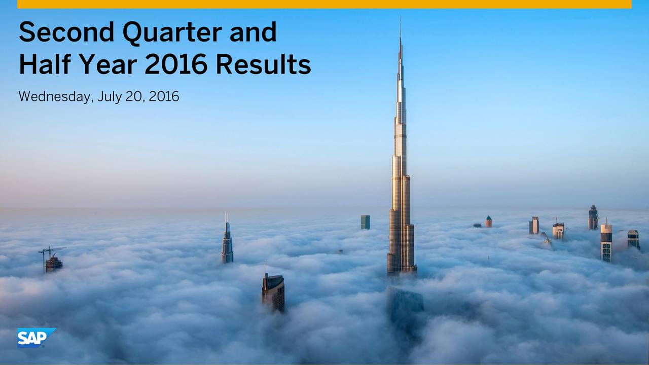 Half Year 2016 Results Wednesday, July 20, 2016