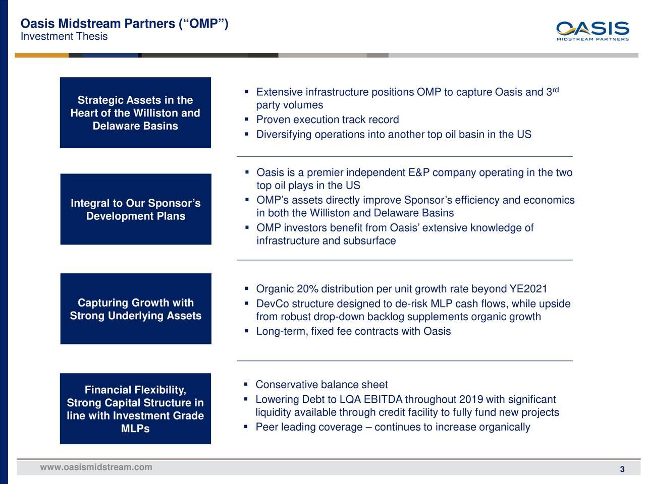 "Oasis Midstream Partners (""OMP"")"