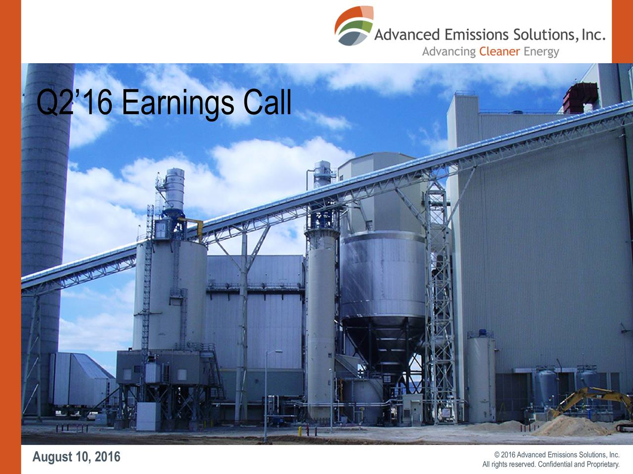 EVENT TITLE August10, 2016  2016Advanced Emissions Solutions, Inc.