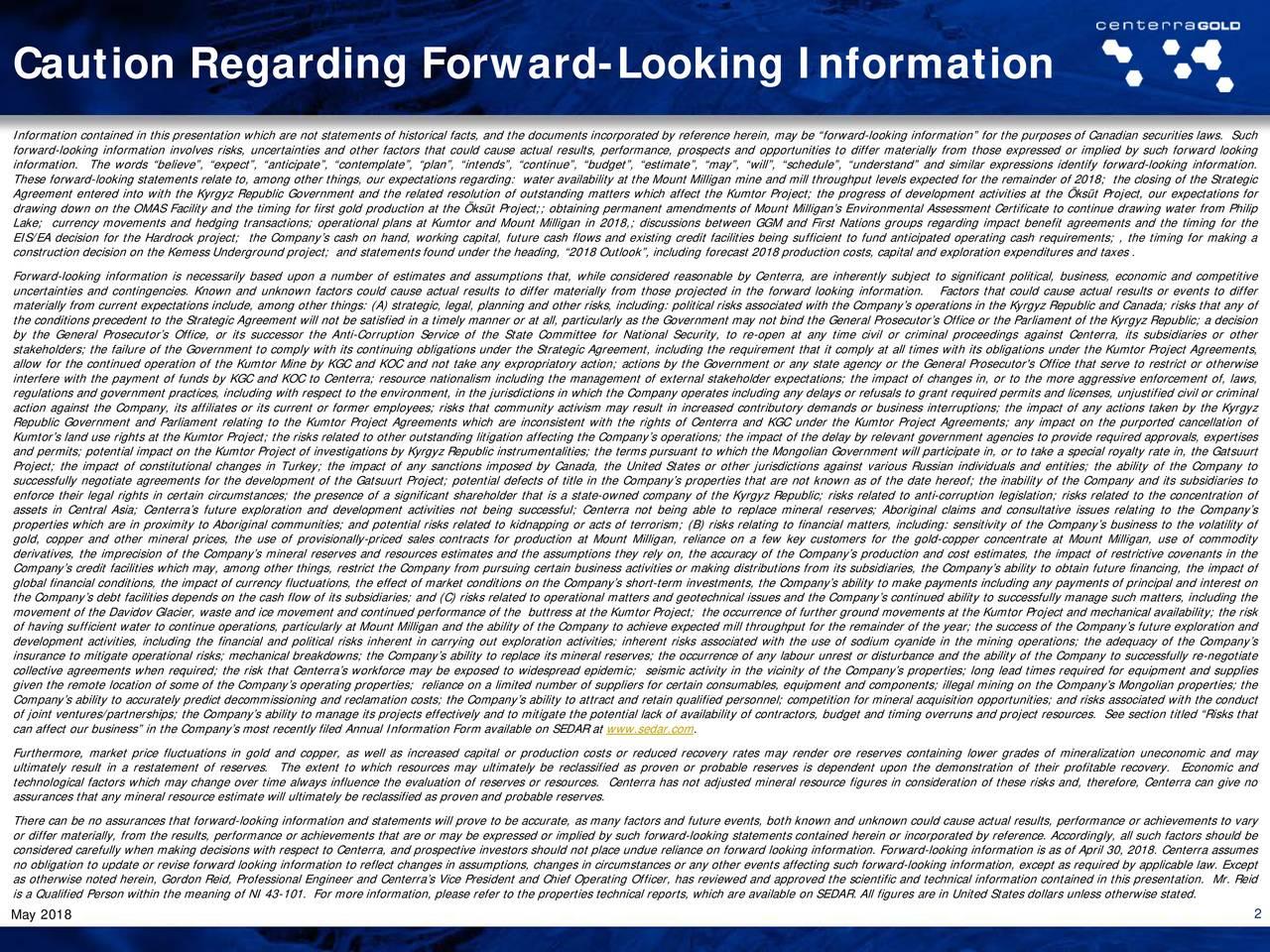 Caution Regarding Forward-Looking Information