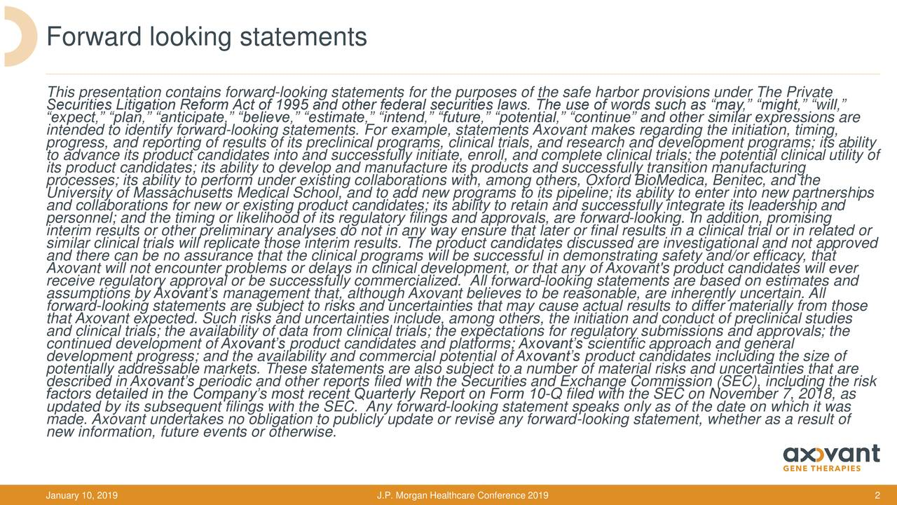 """This presentation contains forward-looking statements for the purposes of the safe harbor provisions under The Private Securities Litigation Reform Act of 1995 and other federal securities laws. The use of words such as """"may,"""" """"might,"""" """"will,"""" """"expect,"""" """"plan,"""" """"anticipate,"""" """"believe,"""" """"estimate,"""" """"intend,"""" """"future,"""" """"potential,"""" """"continue"""" and other similar expressions are progress, and reporting of results of its preclinical programs, clinical trials, and research and development programs; its ability to advance its product candidates into and successfully initiate, enroll, and complete clinical trials; the potential clinical utility of its product candidates; its ability to develop and manufacture its products and successfully transition manufacturing processes; its ability to perform under existing collaborations with, among others, Oxford BioMedica, Benitec, and the University of Massachusetts Medical School, and to add new programs to its pipeline; its ability to enter into new partnerships and collaborations for new or existing product candidates; its ability to retain and successfully integrate its leadership and personnel; and the timing or likelihood of its regulatory filings and approvals, are forward-looking. In addition, promising interim results or other preliminary analyses do not in any way ensure that later or final results in a clinical trial or in related or similar clinical trials will replicate those interim results. The product candidates discussed are investigational and not approved Axovant will not encounter problems or delays in clinical development, or that any of Axovant's product candidates will ever receive regulatory approval or be successfully commercialized. All forward-looking statements are based on estimates and assumptions by Axovant's management that, although Axovant believes to be reasonable, are inherently uncertain. All forward-looking statements are subject to risks and uncertainties that may cause actual results to differ """