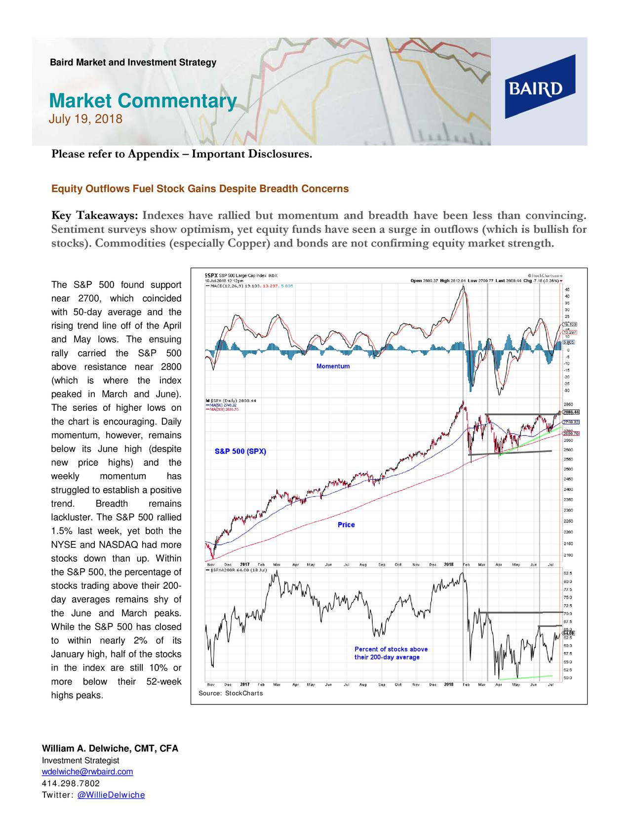 Market Commentary July 19, 2018 Please refer to Appendix – Important Disclosures. Equity Outflows Fuel Stock Gains Despite Breadth Concerns Key Takeaways: Indexes have rallied but momentum and breadth have been less than convincing. Sentiment surveys show optimism, yet equity funds have seen a surge in outflows (which is bullish for stocks). Commodities (especially Copper) and bonds are not confirming equitymarket strength. The S&P 500 found support near 2700, which coincided with 50-day average and the rising trend line off of the April and May lows. The ensuing rally carried the S&P 500 above resistance near 2800 (which is where the index peaked in March and June). The series of higher lows on the chart is encouraging . Daily momentum, however, remains below its June high (despite new price highs) and the weekly momentum has struggled to establish a positive trend. Breadth remains lackluster. The S&P 500 rallied 1.5% last week, yet both the NYSE and NASDAQ had more stocks down than up. Within the S&P 500, the percentage of stocks trading above their 200- day averages remains shy of the June and March peaks. While the S&P 500 has closed to within nearly 2% of its January high, half of the stocks in the index are still 10% or more below their 52-week Source: StockCharts highs peaks. William A. Delwiche, CMT, CFA Investment Strategist wdelwiche@rwbaird.com 414.298.7802 Twitter: @WillieDelwiche