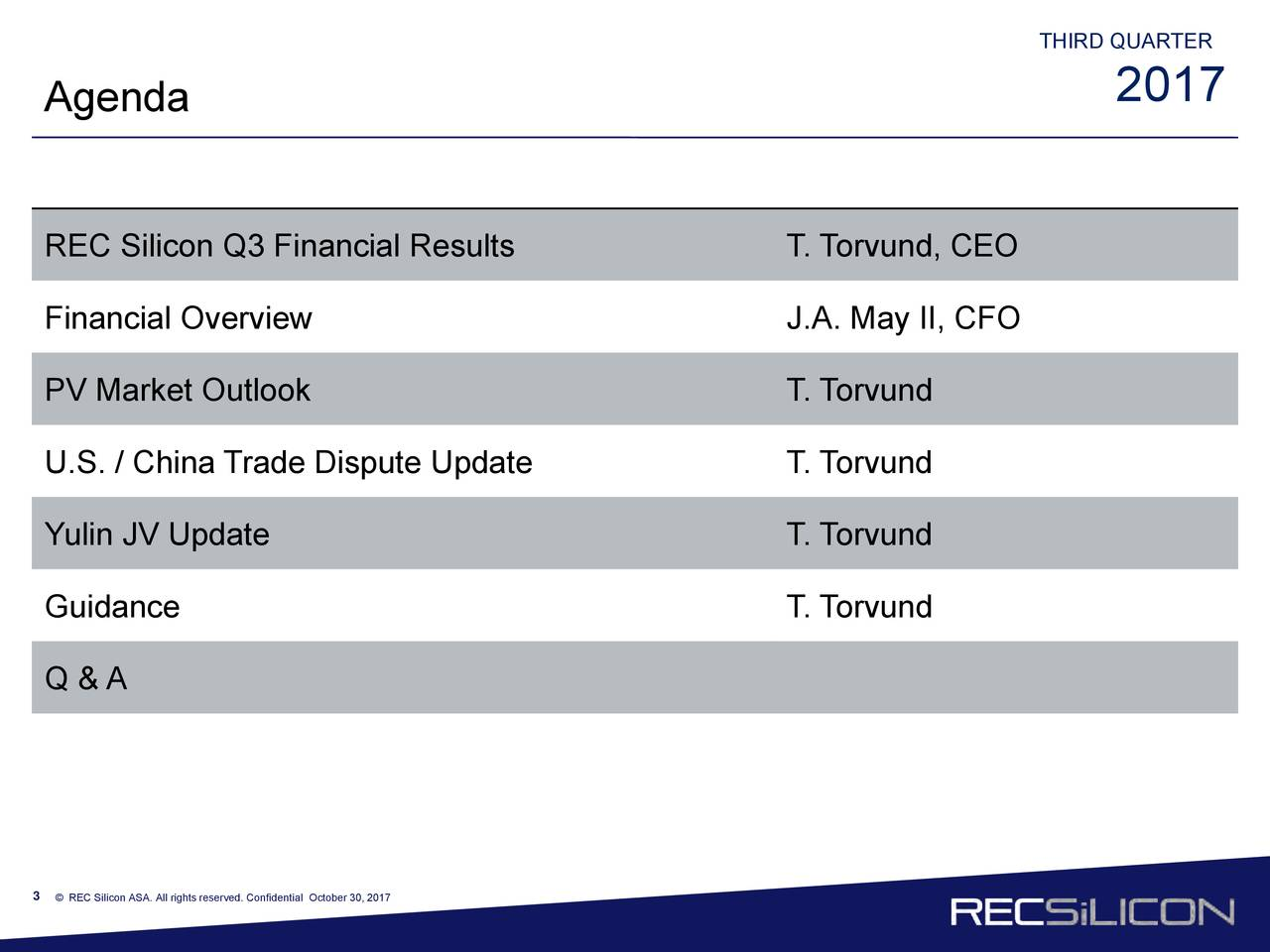 2017 Agenda REC Silicon Q3 Financial Results T. Torvund, CEO Financial Overview J.A. May II, CFO PV Market Outlook T. Torvund U.S. / China Trade Dispute Update T. Torvund Yulin JV Update T. Torvund Guidance T. Torvund Q & A 3 © REC Silicon ASA. All rights reserved. Confidential October 30, 2017