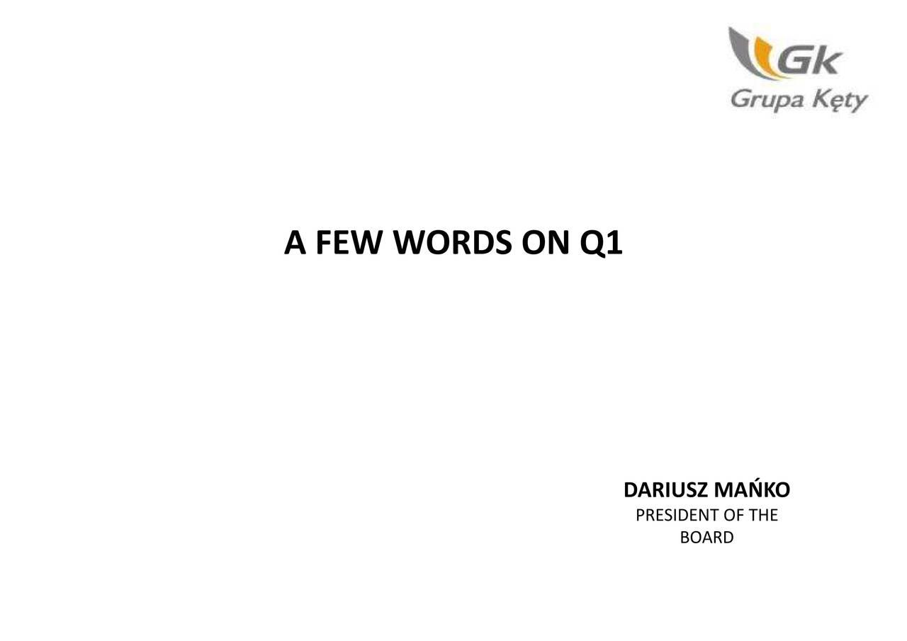 DARIUSZ MAŃKO THE ON Q1 WORDS A FEW