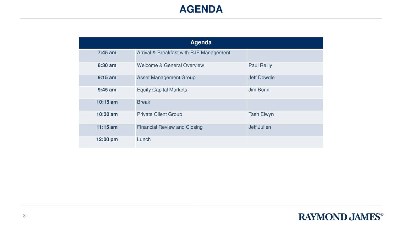 Agenda 7:45 am Arrival & Breakfast with RJF Management 8:30 am Welcome & General Overview Paul Reilly 9:15 am Asset Management Group Jeff Dowdle 9:45 am Equity Capital Markets Jim Bunn 10:15 am Break 10:30 am Private Client Group Tash Elwyn 11:15 am Financial Review and Closing Jeff Julien 12:00 pm Lunch 3
