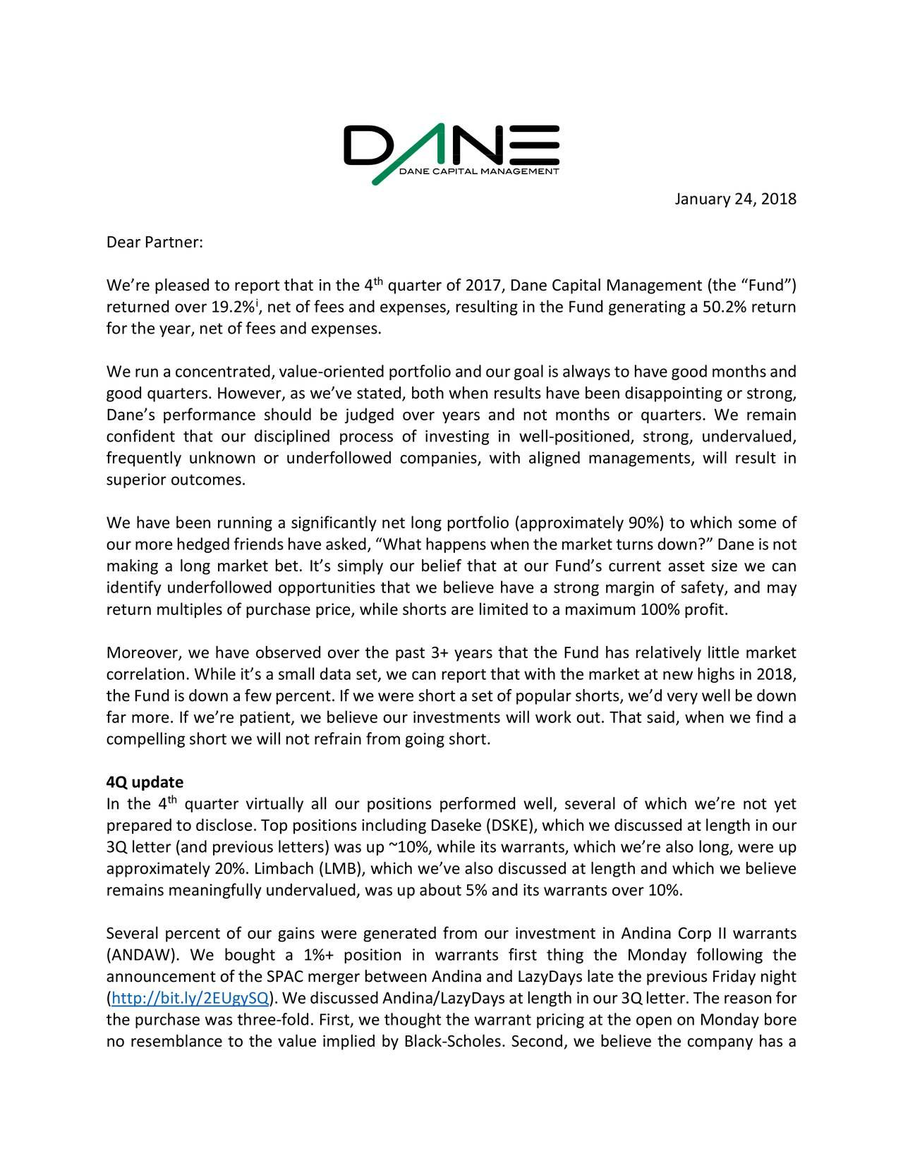 Dane Capital Management Q4 2017 Investor Letter | Seeking Alpha