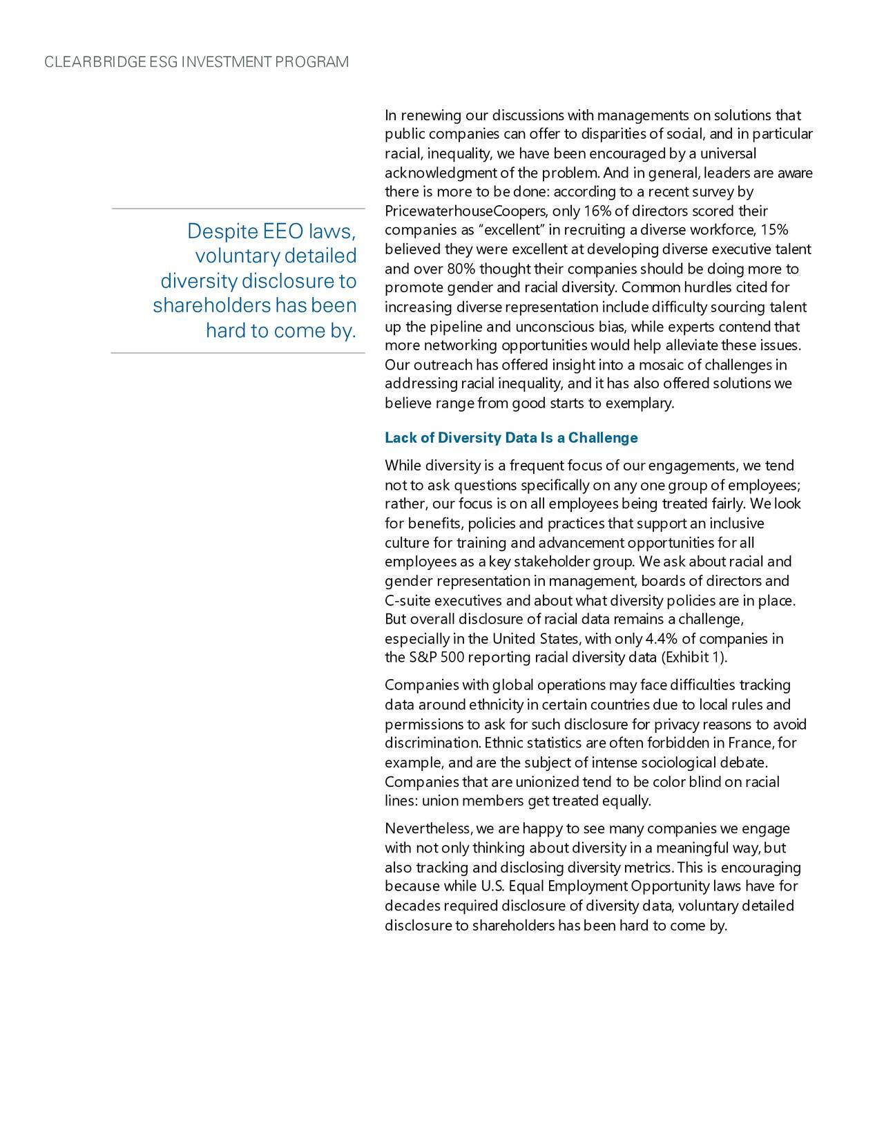 CLEARBRIDGE ESG INVESTMENT PROGRAM
