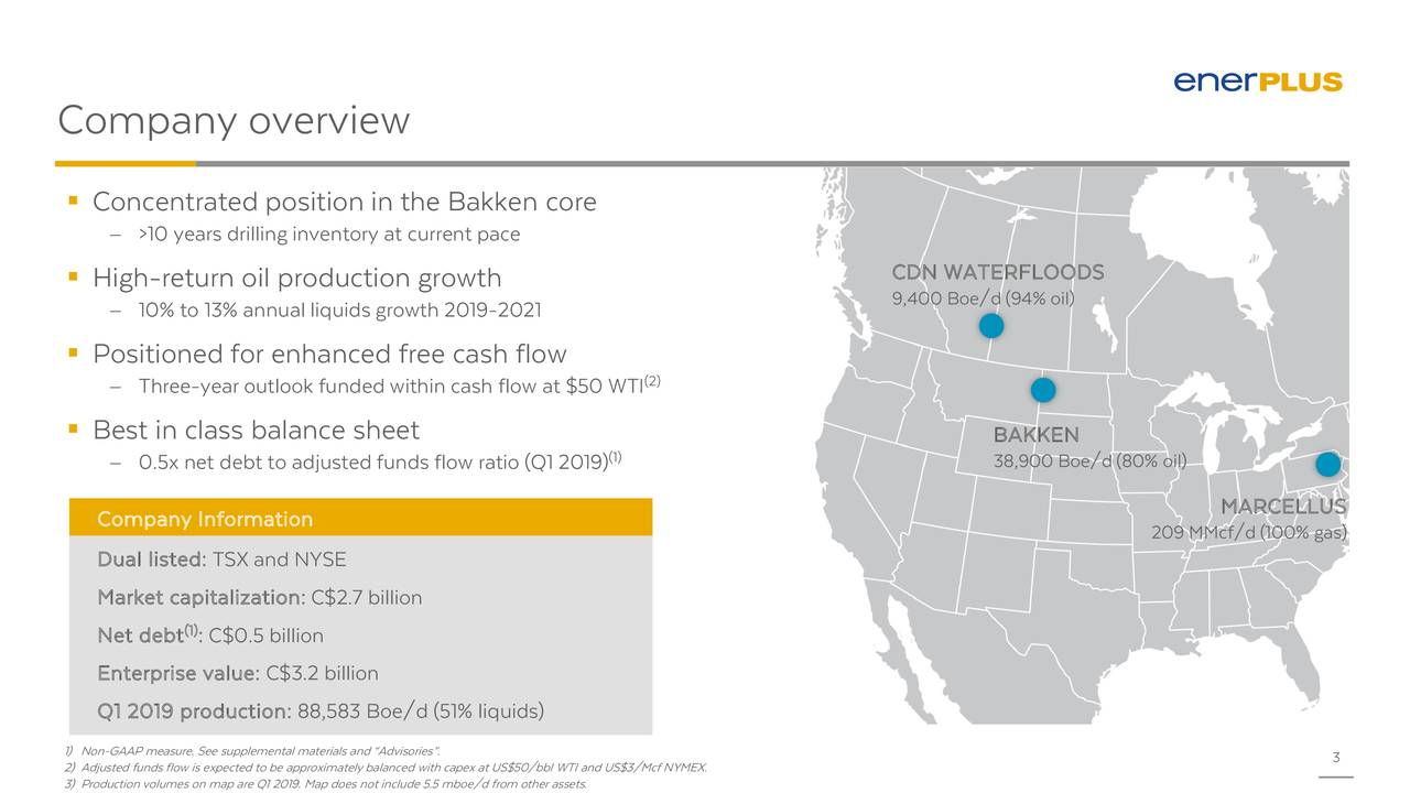 " Concentrated position in the Bakken core − >10 years drilling inventory at current pace CDN WATERFLOODS  High-return oil production growth 9,400 Boe/d (94% oil) − 10% to 13% annual liquidsgrowth 2019-2021  Positioned for enhanced free cash flow − Three-year outlook funded within cash flow at $50 WTI2)  Best in class balance sheet BAKKEN (1) − 0.5x net debt to adjusted funds flow ratio (Q1 2019) 38,900 Boe/d (80% oil) Company Information MARCELLUS 209 MMcf/d (100% gas) Dual listed: TSX and NYSE Market capitalization: C$2.7 billion Net debt : C$0.5 billion Enterprise value: C$3.2 billion Q1 2019 production: 88,583 Boe/d (51% liquids) 1) Non-GAAP measure. See supplemental materials and ""Advisories"". 2) Adjusted funds flow is expected to be approximately balanced with capex at US$50/bbl WTI and US$3/Mcf NYMEX. 3"