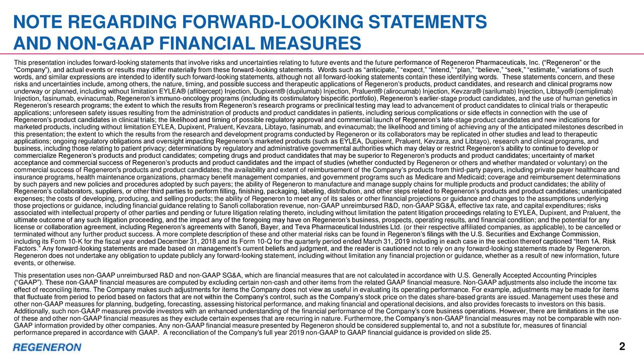 """AND NON-GAAP FINANCIAL MEASURES This presentation includes forward-looking statements that involve risks and uncertainties relating to future events and the future performance of Regeneron Pharmaceuticals, Inc. (""""Regeneron"""" or the """"Company""""), and actual events or results may differ materially from these forward-looking statements. Words such as """"anticipate,"""" """"expect,"""" """"intend,"""" """"plan,"""" """"believe,"""" """"seek,"""" """"estimate,"""" variations of such words, and similar expressions are intended to identify such forward-looking statements, although not all forward-looking statements contain these identifying words. These statements concern, and these risks and uncertainties include, among others, the nature, timing, and possible success and therapeutic applications of Regeneron's products, product candidates, and research and clinical programs now underway or planned, including without limitation EYLEA® (aflibercept) Injection, Dupixent® (dupilumab) Injection, Praluent® (alirocumab) Injection, Kevzara® (sarilumab) Injection, Libtayo® (cemiplimab) Injection, fasinumab, evinacumab, Regeneron's immuno-oncology programs (including its costimulatory bispecific portfolio), Regeneron's earlier-stage product candidates, and the use of human genetics in Regeneron's research programs; the extent to which the results from Regeneron's research programs or preclinical testing may lead to advancement of product candidates to clinical trials or therapeutic applications; unforeseen safety issues resulting from the administration of products and product candidates in patients, including serious complications or side effects in connection with the use of Regeneron's product candidates in clinical trials; the likelihood and timing of possible regulatory approval and commercial launch of Regeneron's late-stage product candidates and new indications for marketed products, including without limitation EYLEA, Dupixent, Praluent, Kevzara, Libtayo, fasinumab, and evinacumab; the likelihood and timing of achi"""