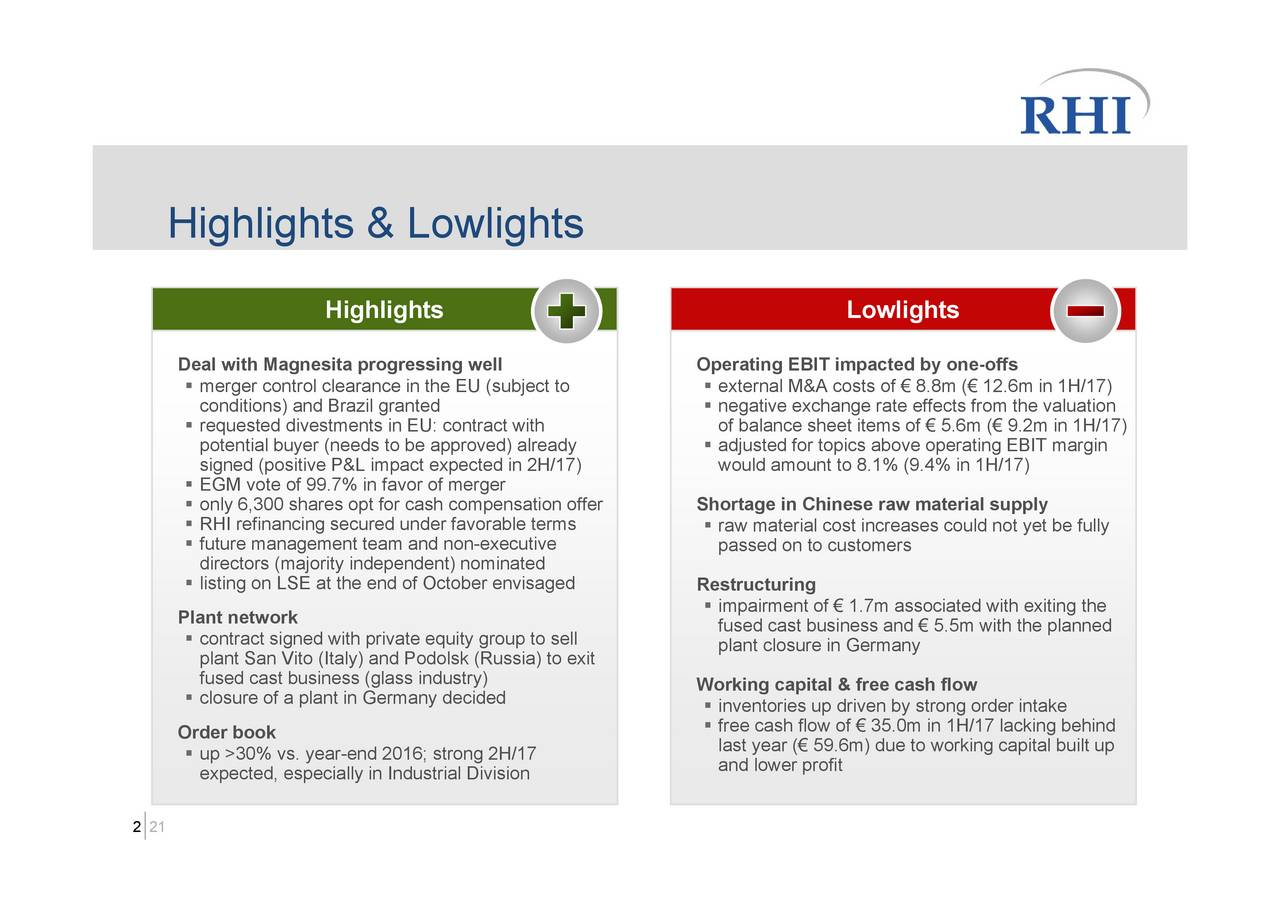 Lowlights Vs Highlights In Presentation Rhi Ag Adr 2017 Q2