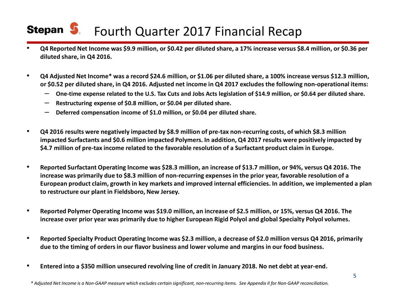 Stepan Co  2017 Q4 - Results - Earnings Call Slides - Stepan