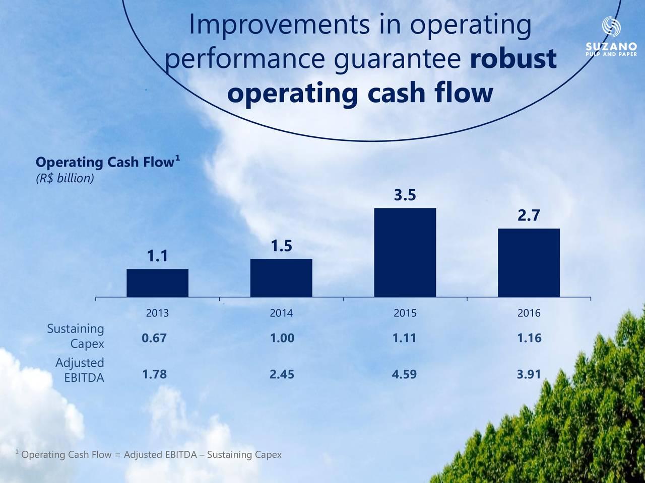 performance guarantee robust operating cash flow Operating Cash Flow (R$ billion) 3.5 2.7 1.5 1.1 2013 2014 2015 2016 Sustaining 0.67 1.00 1.11 1.16 Capex Adjusted EBITDA 1.78 2.45 4.59 3.91 Operating Cash Flow = Adjusted EBITDA  Sustaining Capex