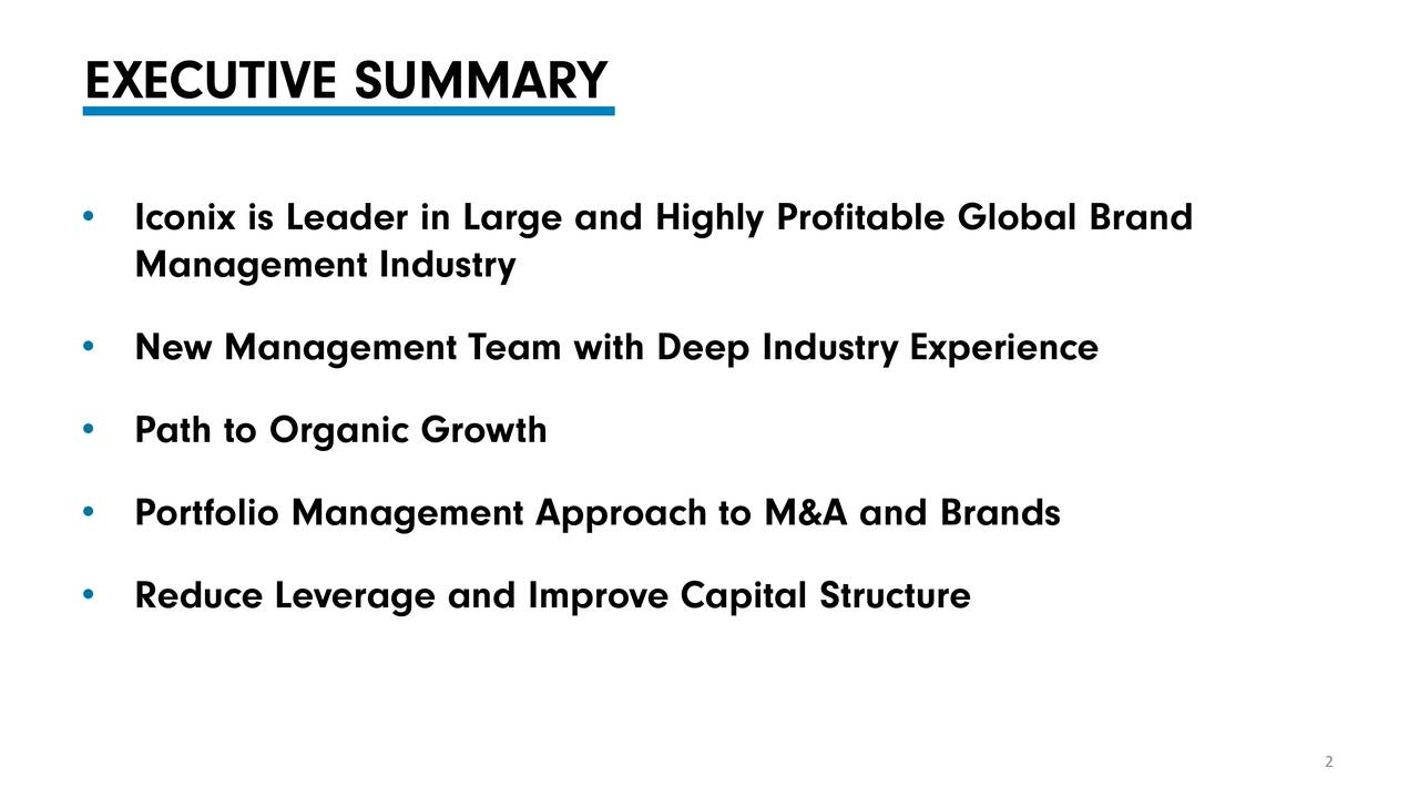 Iconix is Leader in Large and Highly Profitable Global Brand Management Industry New Management Team with Deep Industry Experience Path to Organic Growth Portfolio Management Approach to M&A and Brands Reduce Leverage and Improve Capital Structure 2