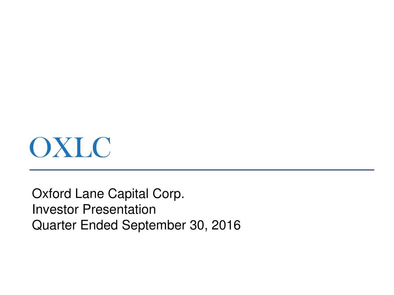 Investor Presentation Quarter Ended September 30, 2016