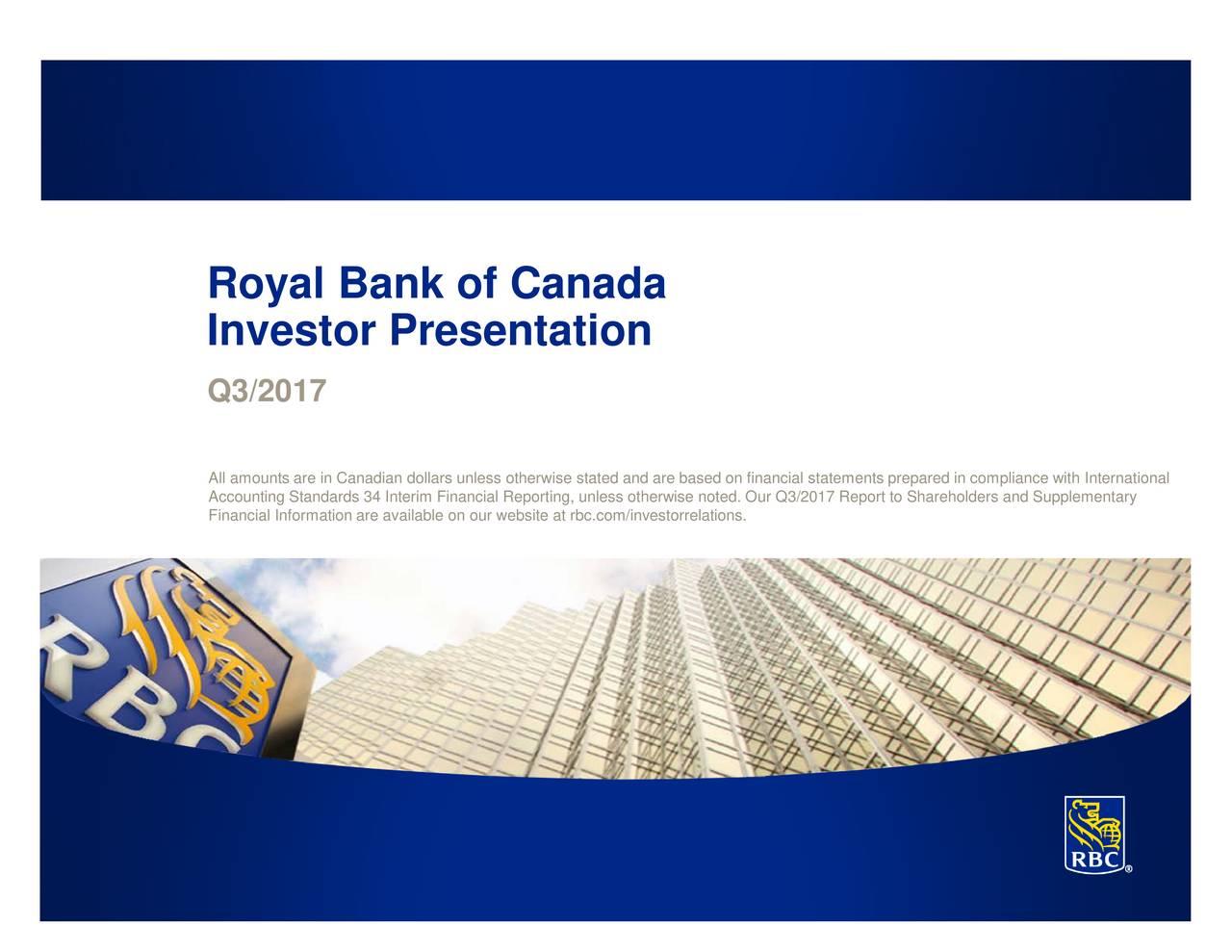 Royal Bank of Canada 2017 Q3 - Results - Earnings Call Slides