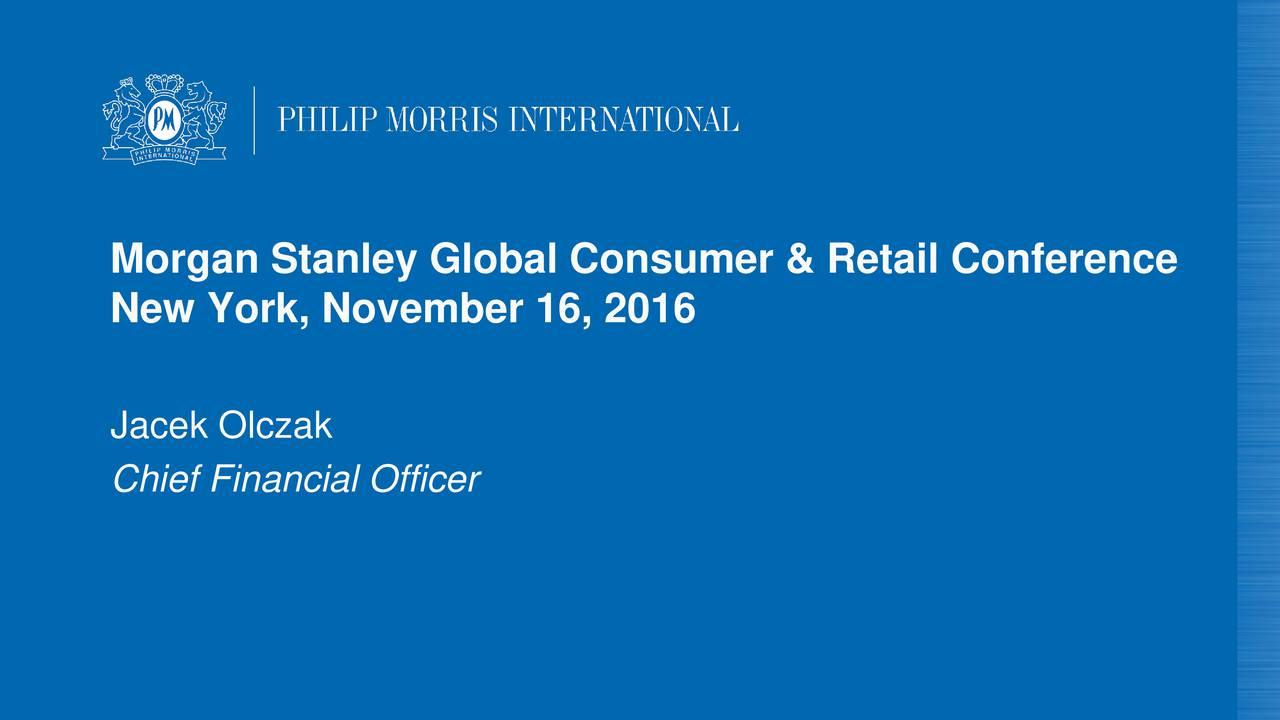 New York, November 16, 2016 Jacek Olczak Chief Financial Officer