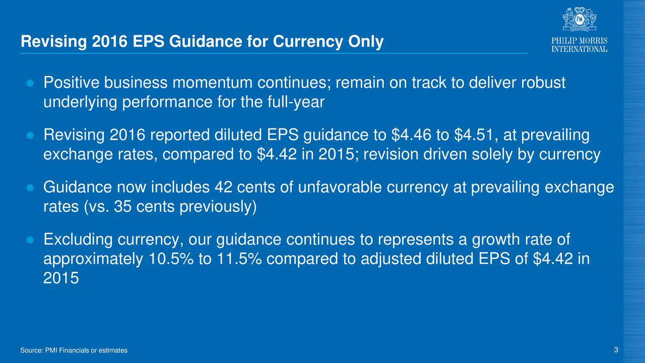 Positive business momentum continues; remain on track to deliver robust underlying performance for the full-year Revising 2016 reported diluted EPS guidance to $4.46 to $4.51, at prevailing exchange rates, compared to $4.42 in 2015; revision driven solely by currency Guidance now includes 42 cents of unfavorable currency at prevailing exchange rates (vs. 35 cents previously) Excluding currency, our guidance continues to represents a growth rate of approximately 10.5% to 11.5% compared to adjusted diluted EPS of $4.42 in 2015 Source: PMI Financials or estimates 3