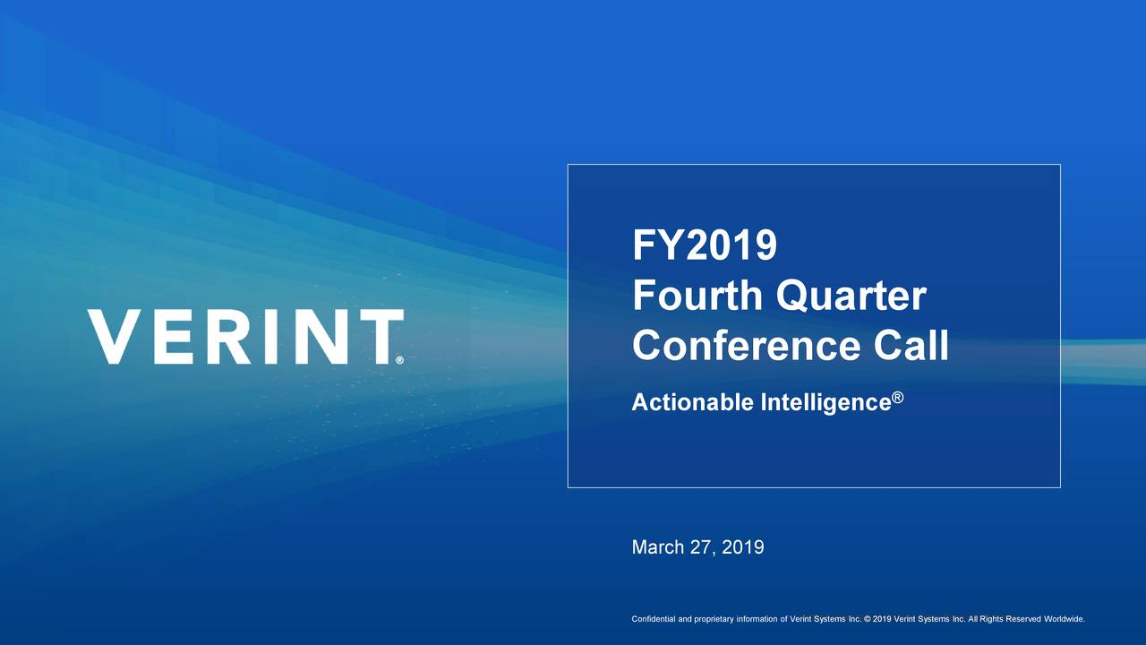 Verint Systems Inc  2018 Q4 - Results - Earnings Call Slides