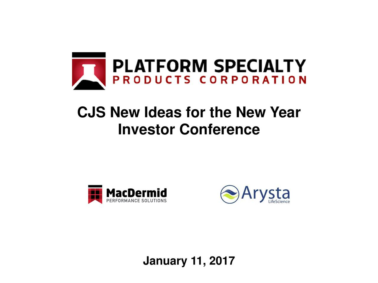 Investor Conference January 11, 2017
