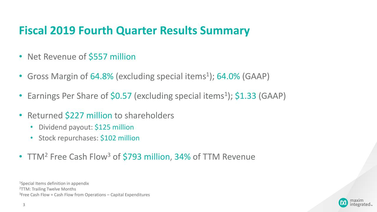 Fiscal 2019 Fourth Quarter Results Summary