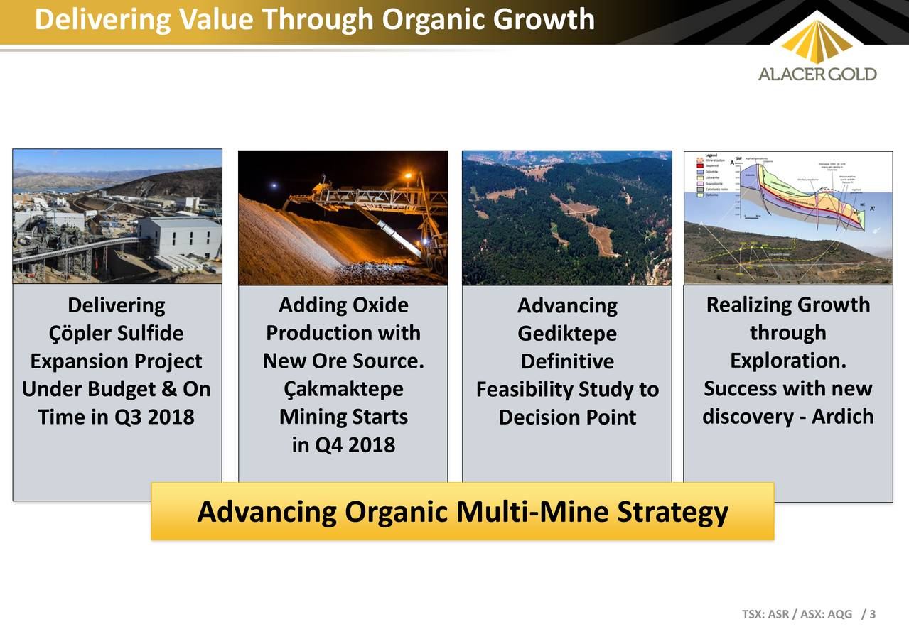 Delivering Adding Oxide Advancing Realizing Growth Çöpler Sulfide Production with Gediktepe through Expansion Project New Ore Source. Definitive Exploration. Under Budget & On Çakmaktepe Feasibility Study to Success with new Time in Q3 2018 Mining Starts Decision Point discovery - Ardich in Q4 2018 Advancing Organic Multi-Mine Strategy