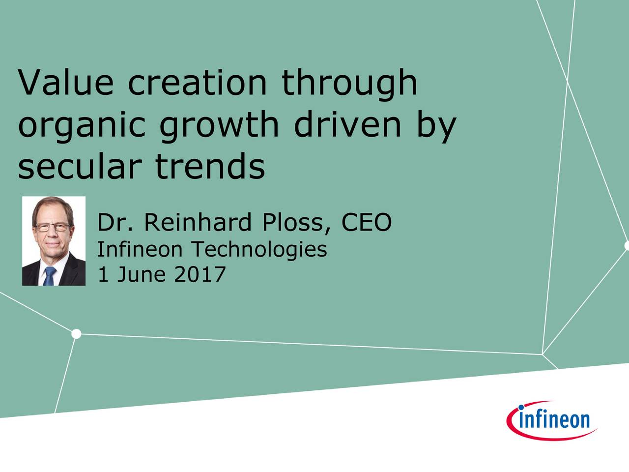 organic growth driven by secular trends Dr. Reinhard Ploss, CEO Infineon Technologies 1 June 2017