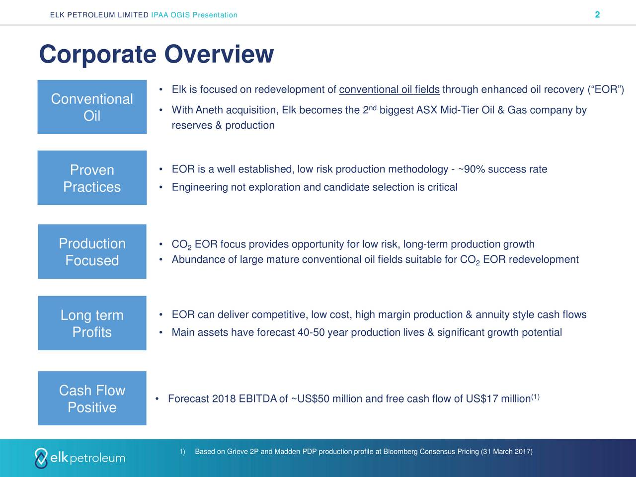 """Corporate Overview • Elk is focused on redevelopment of conventional oil fields through enhanced oil recovery (""""EOR"""") Conventional • With Aneth acquisition, Elk becomes the 2 biggest ASX Mid-Tier Oil & Gas company by Oil reserves & production Proven • EOR is a well established, low risk production methodology - ~90% success rate Practices • Engineering not exploration and candidate selection is critical Production • CO EOR focus provides opportunity for low risk, long-term production growth 2 Focused • Abundance of large mature conventional oil fields suitable f2r CO EOR redevelopment Long term • EOR can deliver competitive, low cost, high margin production & annuity style cash flows Profits • Main assets have forecast 40-50 year production lives & significant growth potential Cash Flow • Forecast 2018 EBITDA of ~US$50 million and free cash flow of US$17 million Positive 1) Based on Grieve 2P and Madden PDP production profile at Bloomberg Consensus Pricing (31 March 2017)"""
