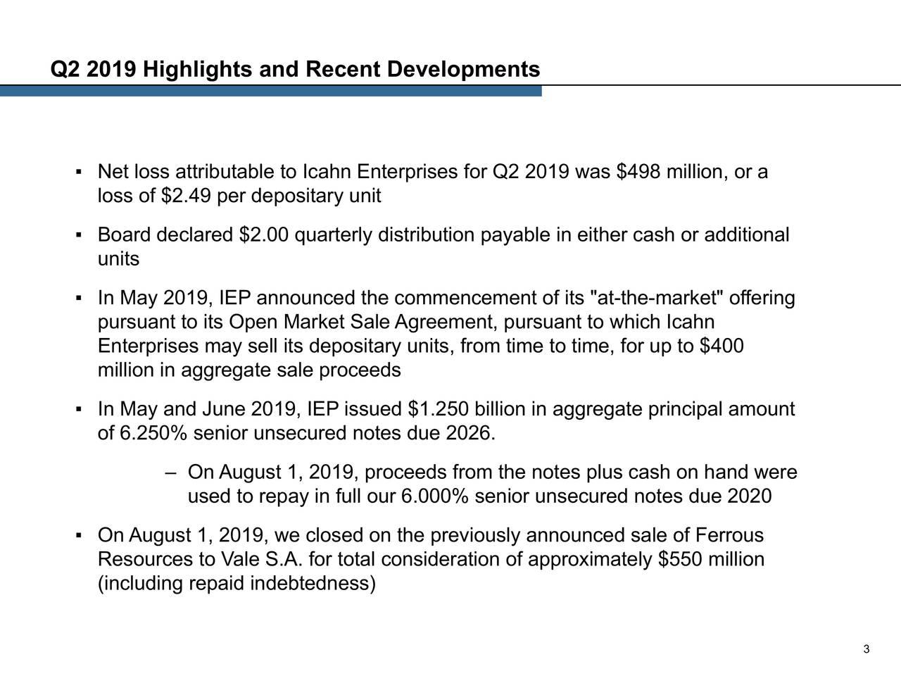 Q2 2019 Highlights and Recent Developments