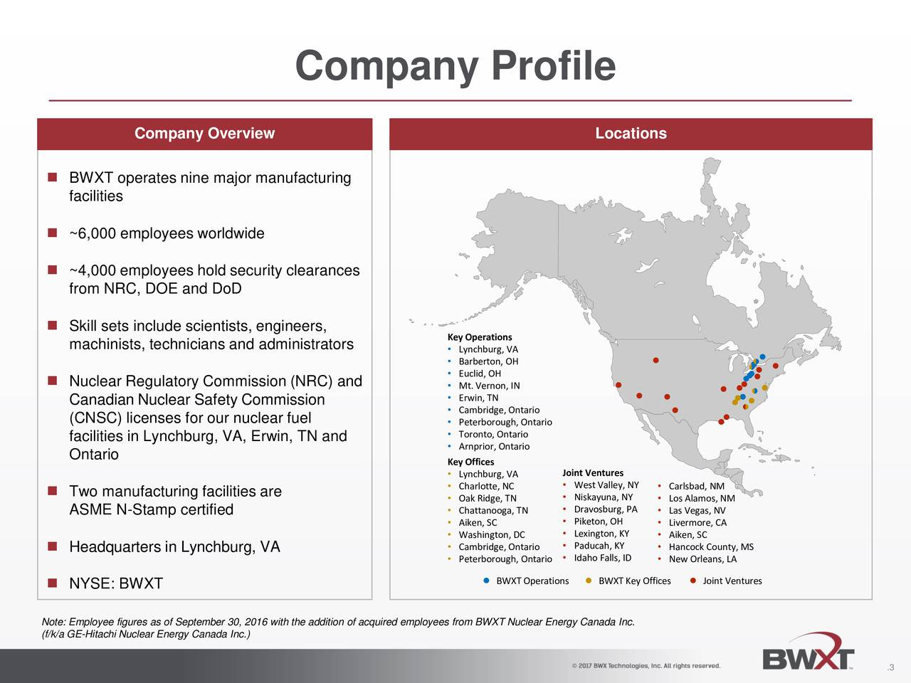 Company Overview Locations BWXT operates nine major manufacturing facilities ~6,000 employees worldwide ~4,000 employees hold security clearances from NRC, DOE and DoD Skill sets include scientists, engineers, KeyOperations machinists, technicians and administrators  Lynchburg, VA Barberton, OH Euclid, OH Nuclear Regulatory Commission (NRC) and  Mt. Vernon, IN Canadian Nuclear Safety Commission  Erwin, TN Cambridge, Ontario (CNSC) licenses for our nuclear fuel  Peterborough, Ontario facilities in Lynchburg, VA, Erwin, TN and  Toronto, Ontario Arnprior, Ontario Ontario KeyOffices Lynchburg, VA Joint Ventures Charlotte, NC  WestValley, NY  Carlsbad, NM Two manufacturing facilities are  Oak Ridge, TN  Niskayuna, NY  Los Alamos, NM ASME N-Stamp certified  Chattanooga, TN  Dravosburg, PA  Las Vegas, NV Aiken, SC  Piketon, OH  Livermore, CA Washington, DC  Lexington, KY  Aiken, SC Headquarters in Lynchburg, VA  Cambridge, Ontario  Paducah, KY  Hancock County, MS Peterborough, OntarioIdaho Falls, ID New Orleans, LA NYSE: BWXT BWXTOperations BWXTKey Offices Joint Ventures Note: Employee figures as of September 30, 2016 with the addition of acquired employees from BWXT Nuclear Energy Canada Inc. (f/k/a GE-Hitachi Nuclear Energy Canada Inc.) .3
