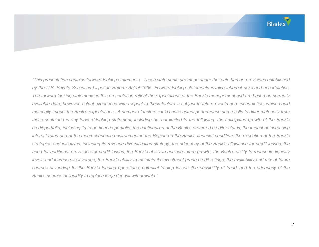 Banco Exterior: Banco Latinoamericano De Comercio Exterior, S.A. 2018 Q1
