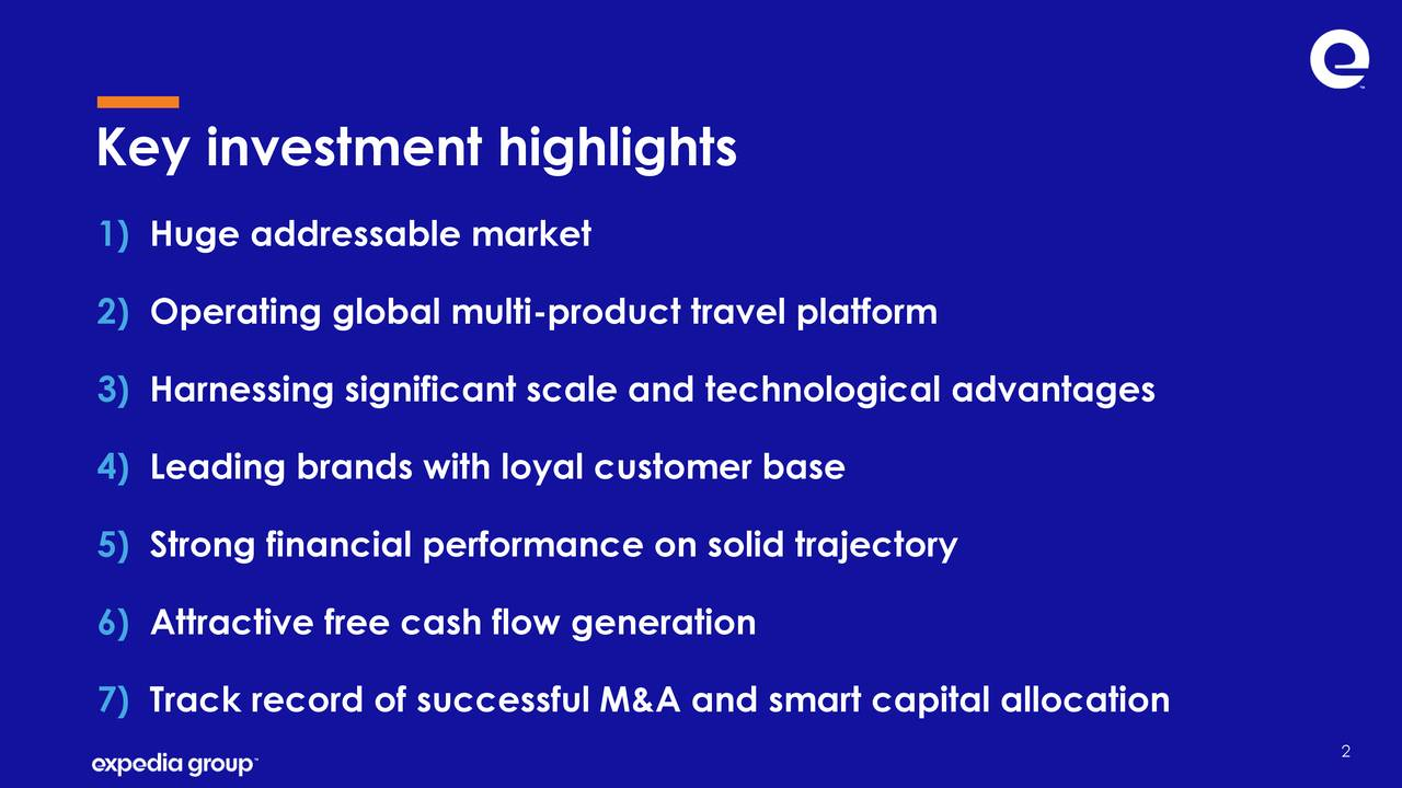 1) Huge addressable market 2) Operating global multi-product travel platform 3) Harnessing significant scale and technological advantages 4) Leading brands with loyal customer base 5) Strong financial performance on solid trajectory 6) Attractive free cash flow generation 7) Track record of successful M&A and smart capital allocation 2