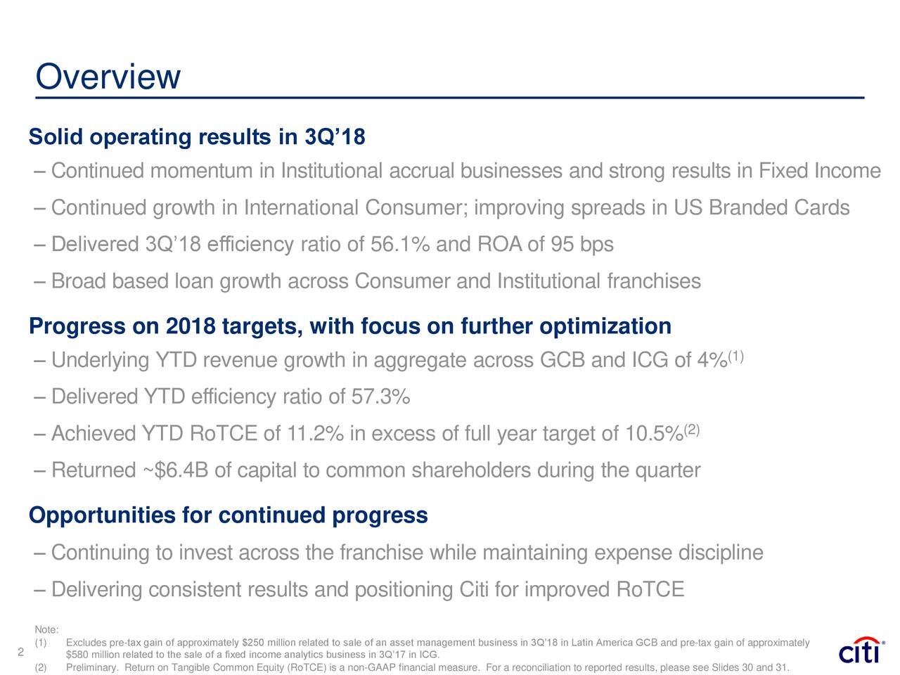 Solid operating results in 3Q'18 – Continued momentum in Institutional accrual businesses and strong results in Fixed Income – Continued growth in International Consumer; improving spreads in US Branded Cards – Delivered 3Q'18 efficiency ratio of 56.1% and ROA of 95 bps – Broad based loan growth across Consumer and Institutional franchises Progress on 2018 targets, with focus on further optimization – Underlying YTD revenue growth in aggregate across GCB and ICG of 4% (1) – Delivered YTD efficiency ratio of 57.3% – Achieved YTD RoTCE of 11.2% in excess of full year target of 10.5% (2) – Returned ~$6.4B of capital to common shareholders during the quarter Opportunities for continued progress – Continuing to invest across the franchise while maintaining expense discipline – Delivering consistent results and positioning Citi for improved RoTCE (1)eExcludes pre-tax gain of approximately $250 million related to sale of an asset management business in 3Q'18 in Latin America GCB and pre-tax gain of approximately 2 $580 million related to the sale of a fixed income analytics business in 3Q'17 in ICG.