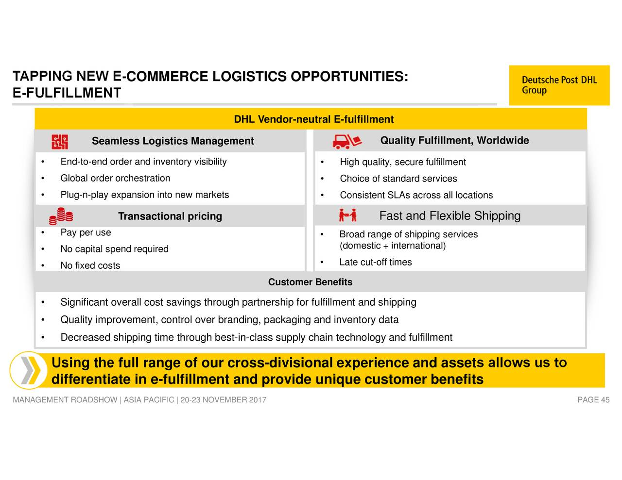 """quality management dhl """"customers trust dhl as the preferred global express and logistics partner,  leading  dhl express, with its total quality management (tqm)."""
