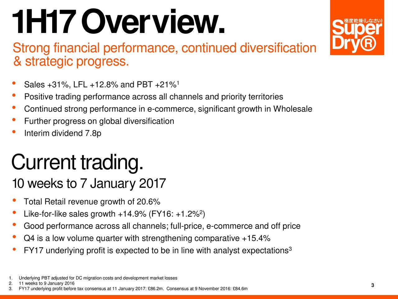 Strong financial performance, continued divs efication & strategic progress. Sales +31%, LFL +12.8% and PBT +21% Positive trading performance across all channels and priority territories Continued strong performance in e-commerce, significant growth in Wholesale Interim dividend 7.8plobal diversification Cu rrent trading. 10 weeks to 7 Janua r 2017 Total Retail revenue growth of 22.6% Like-for-like sales growth +14.9% (FY16: +1.2% ) Good performance across all channels; full-price, e-commerce and off price FY17 underlying profit is expected to be in line with analyst expectations 1.Underlying PBT adjusted for DC migration costs and development market losses 3.FY17 underlying profit before tax consensus at 11 January 2017: 86.2m. Consensus at 9 November 2016: 84.6m